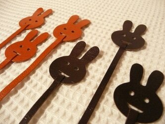 ウサギのブックマーク(山羊革製)の画像