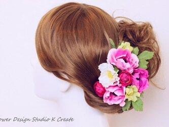 ウェディングに♡ローズピンクのアネモネのヘッドドレスの画像