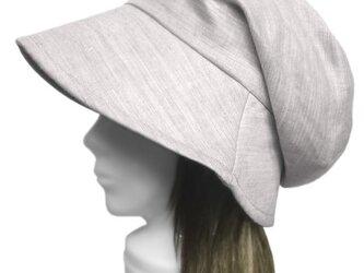 綿麻ツイル/つば広女優帽子(ゆったり)◆杢ライトグレーの画像