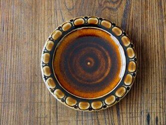 アメ釉 パン皿 (丸模様)の画像