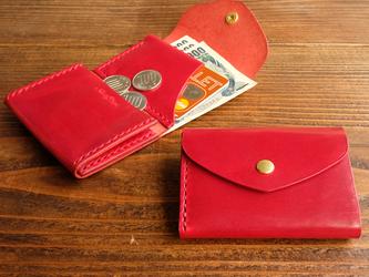 三つ折りのCompact wallet / 高級イタリアンレザー レッドの画像