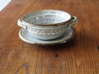 うのふ白釉 スープカップ&ソーサ (アメline)の画像