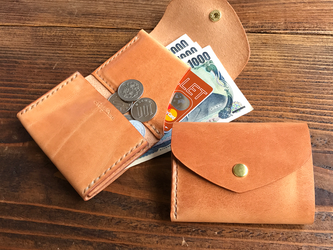 3c5dc1458e38 [受注制作] 三つ折りのCompact wallet / 高級イタリアンレザー ナチュラル