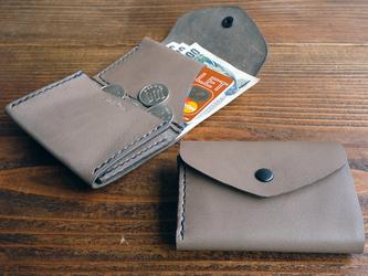 三つ折りのCompact wallet / 高級イタリアンレザー グレーの画像