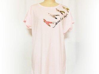 飛行機プリント ロングTシャツピンクの画像