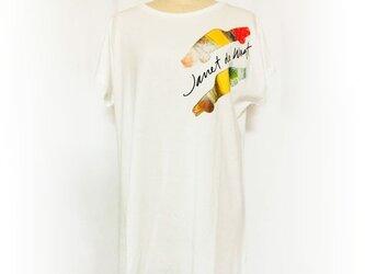 車プリント ロングTシャツオフホワイトの画像