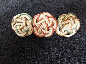 ろうびき紐のバレッタ(茶系)の画像