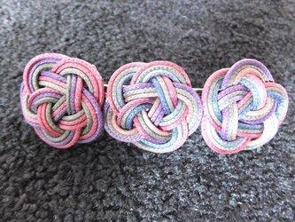 ろうびき紐のバレッタ(紫系)の画像