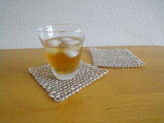 手織り 麻コースター ・ベージュ(2枚セット)の画像