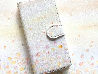 お花畑オレンジ スマホケース 手帳型 【受注生産】アンドロイド iPhoneケース 花柄の画像