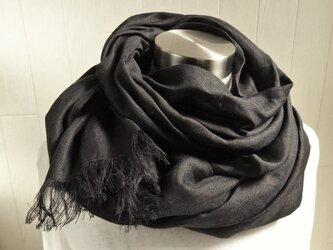 大判 上質ベルギーリネンのストール 黒の画像
