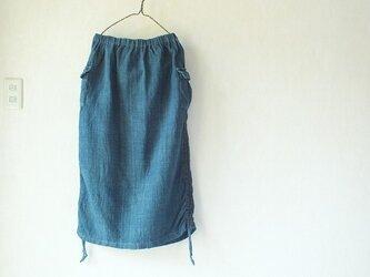 手織り綿の浅間山麓藍染スカートの画像
