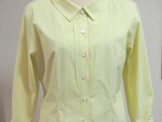 ショールカラーの衿付きブラウス(黄色)の画像