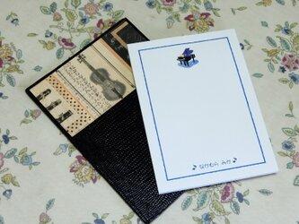 ★お名前入り★ 台付きmy メモ帳 黒色  【音楽・ヴァイオリン】 の画像