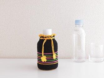 185. 280ml 刺繍糸のボトルカバー 小さな巾着(ブラックカラフル)の画像