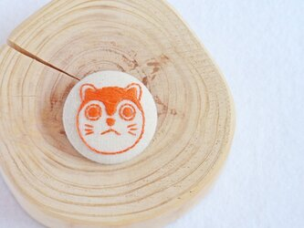刺繍ブローチ 狛犬【オレンジ】の画像
