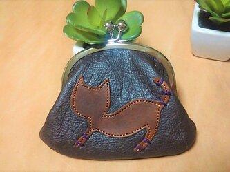 革のガマ口財布&小物入れ 茶猫ちゃんの画像