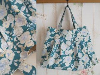 北欧調花柄グラニートートバッグ※グリーンの画像