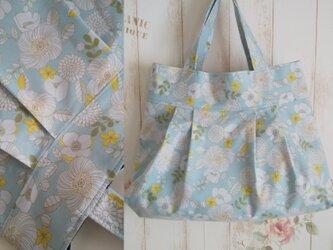 北欧調花柄グラニートートバッグ※スカイブルーの画像