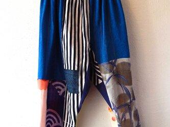 着物・浴衣リメイクサルエルパンツ ブルーの画像
