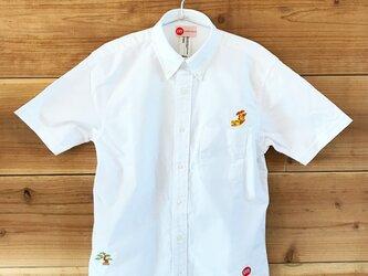 金鯱&盆栽 刺繍 ボタンダウン 半袖OXホワイトシャツの画像