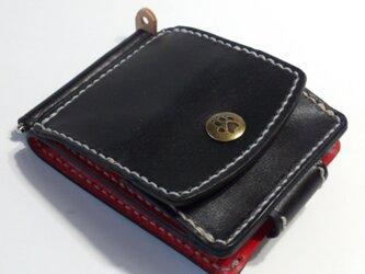 【手縫い】巾85mmフラットになるマネークリップ カード4枚+マルチポケット+コインケース CMC-02brの画像