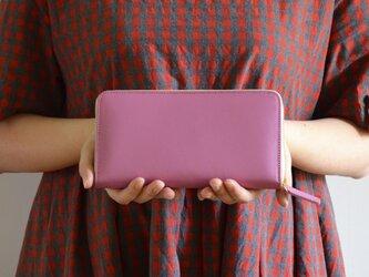 上質スムースレザー 大容量ラウンドウォレット 本革長財布 ピンク バイカラーの画像