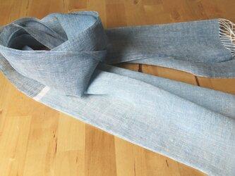 手織りリネンストール 藍の画像