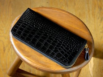 《LEO》ラウンドジップロングウォレット スリム ブラックの画像