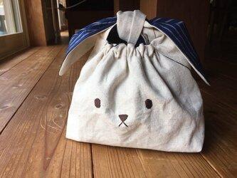 うさぎのお弁当袋Lネイビー(送料無料)の画像