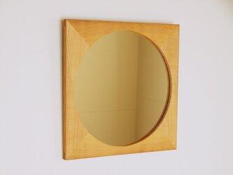 木製 鏡「しかくに◯」桜材6 ミラーの画像