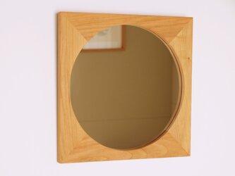 木製 鏡「四角に丸」桜材7 ミラーの画像