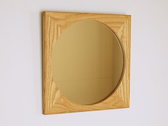 木製 鏡「しかくに◯」栗材3 ミラーの画像