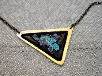 銀箔青系三角七宝首飾の画像