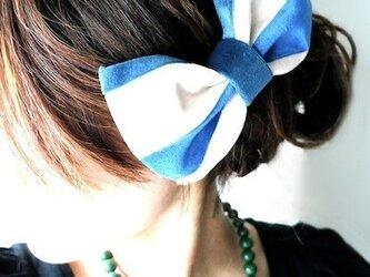 ベルベットボーダーリボンバレッタ/blue×whiteの画像