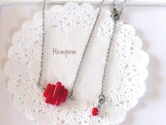 17n003・真っ赤な珊瑚のステンレスネックレス ホムポムの画像