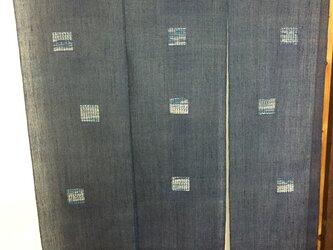 手織り暖簾 窓デザインシリーズ 本藍染め N-002の画像