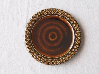角畑和久様ご予約作品 こげ茶色釉 パン皿 (しずく模様)の画像