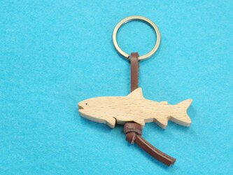 イワナ / 岩魚 木のキーリングの画像