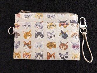 パス&スマートキーケース(めがね 猫)の画像