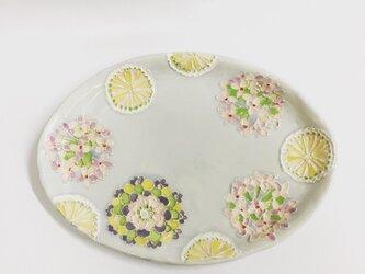 人気再販 受注制作 紫陽花とモノグラムパステルカラー楕円皿の画像