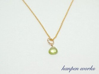 14kgf 8月の誕生石 宝石質 ペリドット マロン リング 一粒ネックレスの画像