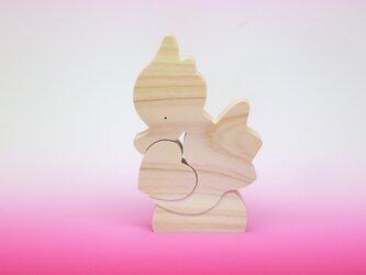 送料無料 木のおもちゃ 動物組み木 タツノオトシゴとハートの画像