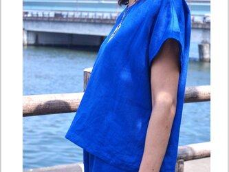 ベルギーリネンのプルオーバー  ロイヤルブルーの画像