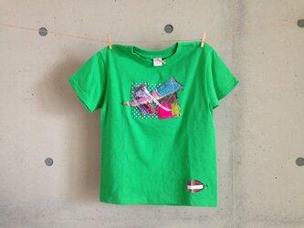 さをりTシャツ(130㎝・緑)の画像