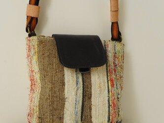 さおり織と牛革のポシェット 淡色の画像