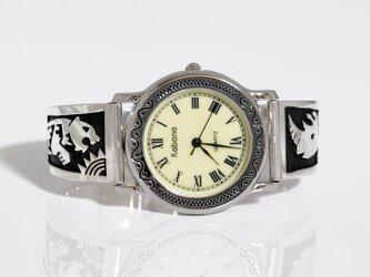トラとサイのシルバー製腕時計・W005[送料無料]の画像