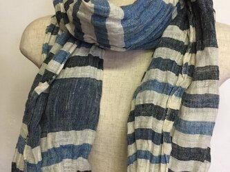 手織りストール ヘンプ100% 本藍染め SH-001の画像