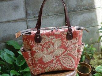 サイドポケットバッグS(サンダーソン社製輸入生地:赤レンガ色)の画像
