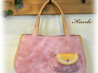 ぷっくりポケットのハンドバッグ / レザー ピンクの画像